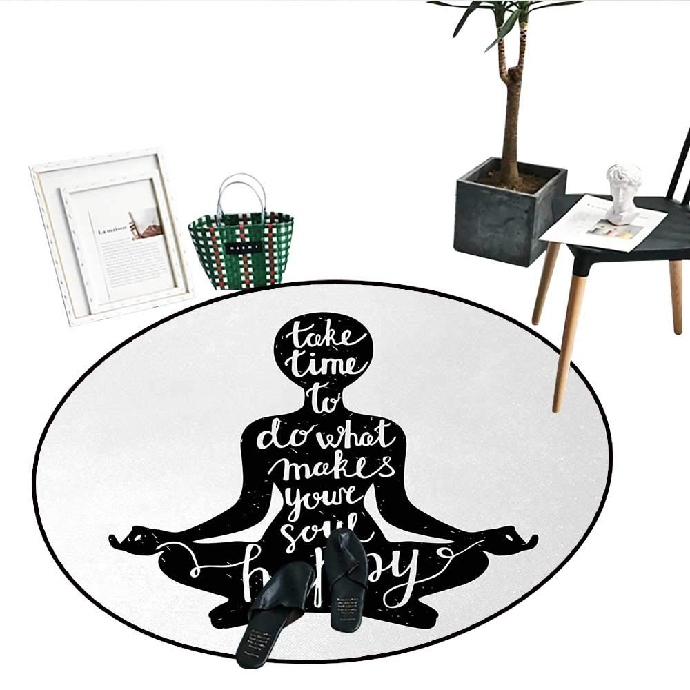 Amazon.com: Yoga Round Small Door Mat Black Silhouette Quote ...