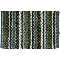 J&M Home Fashions Cotton Contemporary Reversible Indoor Stripe Chindi Woven Area Rag Rug, 24x36, Unique Bedroom, Living Room, Kitchen, Laundry, Wash Room, Nursery-Green