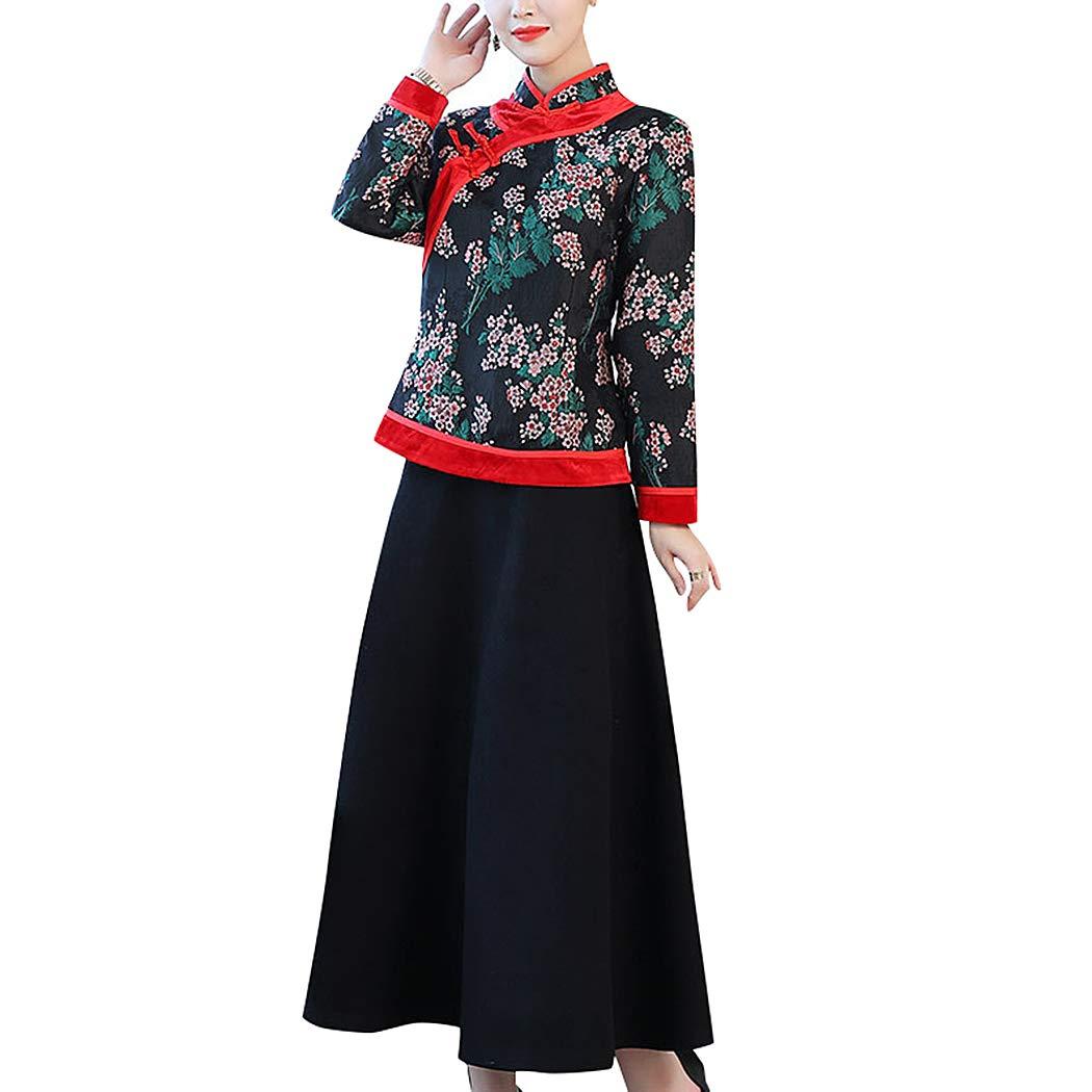 HÖTER Womens Spring Autumn Folk Style Printed Floral Vintage Cheongsam Plus  Size Cotton Jacket(M-4XL) at Amazon Women s Coats Shop 5d1a2b8d5d39
