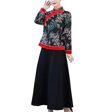 HÖTER Women s Qipao High Split Slim Two-Piece Dress Printed Long Sleeve Vintage  Chinese Silk e45fda67f624