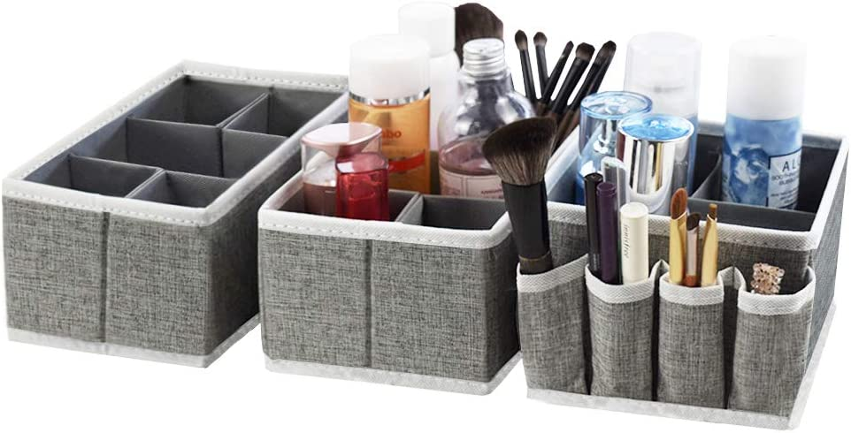 Cosmetic Makeup Storage Organizer ,Adjustable Multifunction Storage Drawers Box Bins for Makeup Brushes,Bathroom Countertop or Dresser,Set of 3(Grey)