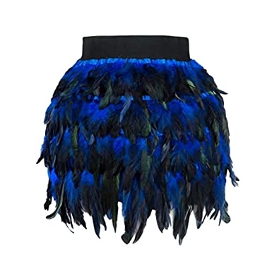 69eb6de3ee0 Yying Black Swan Feather Skirt Mini Length Fully Double Layer Fabric Lined  Feather Skirt for Party Event Plumage Plume Skirt  Amazon.co.uk  Clothing