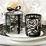 Black Rose Candle Holder Wedding Favors with Rhinestones- Set of 6 Candles