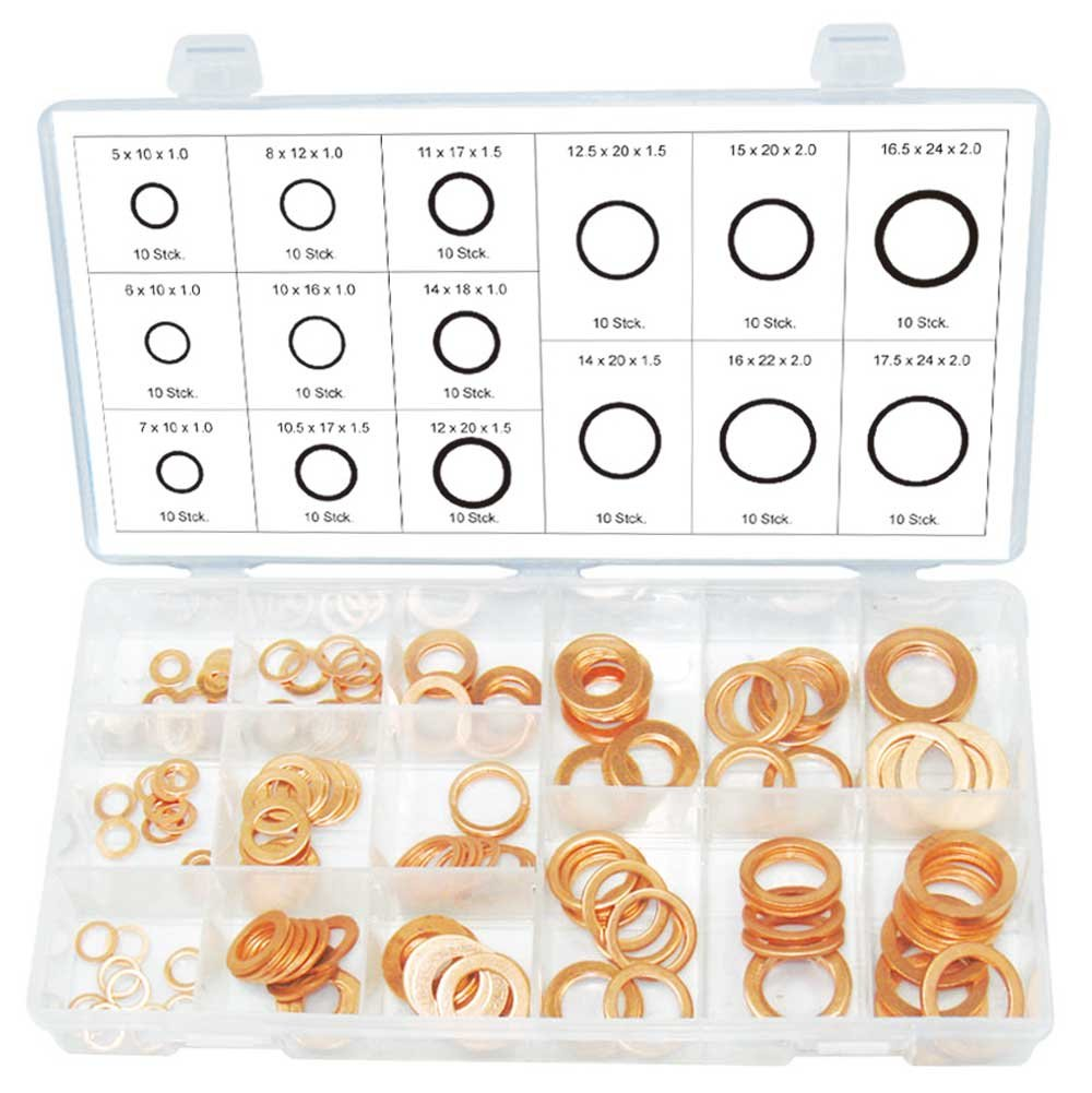 Kupfer Unterlegscheiben Dichtung Dichtring außen ø 10-24 mm innen-ø 5-18 mm 150-tlg. (im Aufbewahrungsbox/Sortimentsbox) Alkan