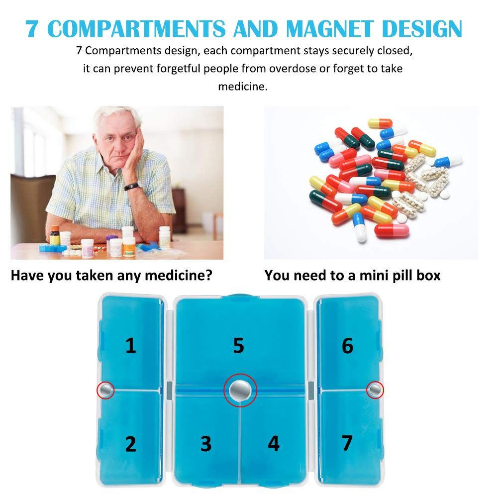 Pill Case,Portable Magnetic Foldable Pill Organizer with 7 Compartments Perfect for Pocket or Purse,Travel Pill Box for Pills/Vitamin/Fish Oil/Supplements (2 Pack) (Blue)