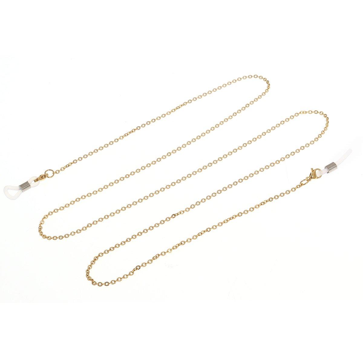 Tinksky Brillen Kette Edelstahl Eyewear Cord Halter Sonnenbrille Lanyard Strap Halskette für Kinder Erwachsene 31(Gold) 1806163X7U95200