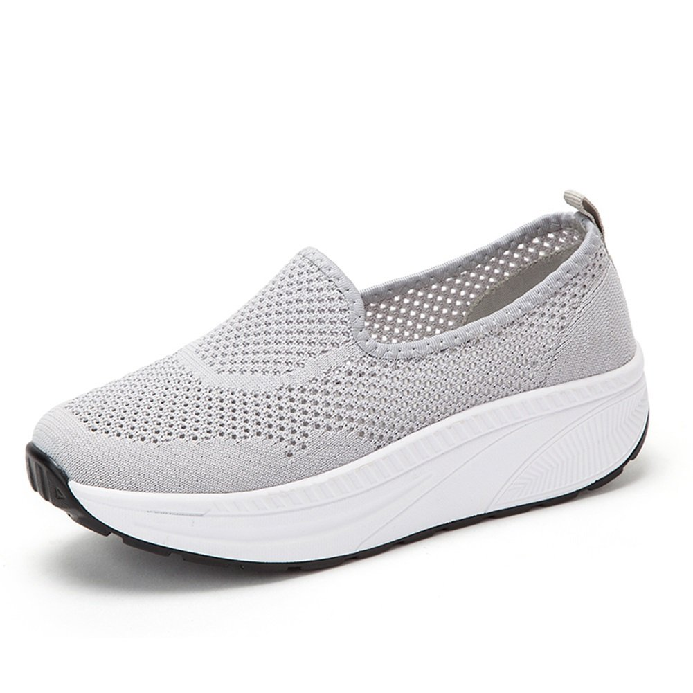 SHINIK Zapatos de mujer Spring Summer Comfort Sneakers Zapatos para caminar Fitness Shake Shoes Zapatos de lona Para diario Casual Rosa Negro Azul gris (Color : D, tamaño : 37) 37 D