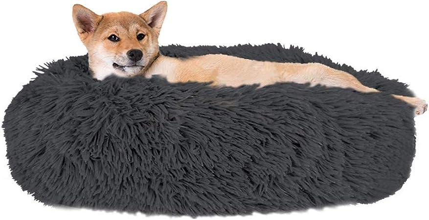 Slowton Haustierbett Schöne Tierbett Hundesofa Katzensofa Kissen Donut Kuschelnest Warmes Weiches Plüsch M Durchmesser 60cm Grau Dunkel Haustier