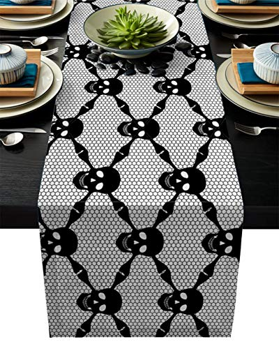 Edwiinsa Gothic Cotton Linen Table Runner Rectangle Plate Mat Outdoor Rug Runner for Coffee Dining Banquet Home Decor, Halloween Horror Spooky Black Skulls Checkered with Skeleton Bones, 13 x 70 -