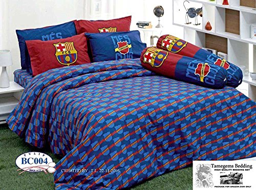 FCB Barcelona Fc Football Club Soccer Team Official Licensed Bedding Set, Fitted Bed Sheet, Pillow Case, Bolster Case, Comforter BC004 Set B+1 (Queen 60''x78'') with Tamegems Bedding Label by Tamegems Bedding