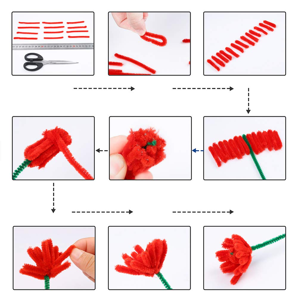 300 Pieces 4 Size Wiggle Eyes Caydo 910 Pieces Pipe Cleaners Set 200 Pieces Pom Poms and 50 Pieces Craft Sticks Including 360 Pcs 20 Colors Chenille Stems with Smooth Processing at Both Ends
