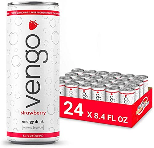 Vengo Energy – Strawberry Flavor – 8.4oz – 24 Pack Energy Drinks