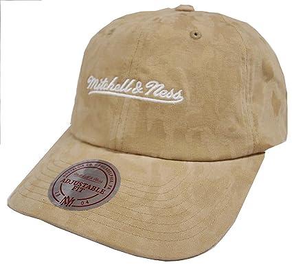 d4c82a25666596 Mitchell & Ness Beige INTL078 Tonal Camo Dad Hat Strapback Cap at ...