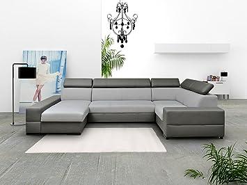 14802daffe4aa tendencio Canapé en U panoramique et Convertible Capri XXL avec têtière  réglable Gris et Noir Design