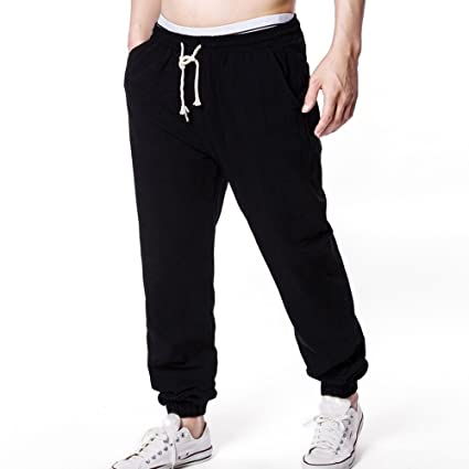 4439b45bfa Running Pants Women,Summer Men Solid Linen Elastic Soft Casual Loose Pants  BK L,