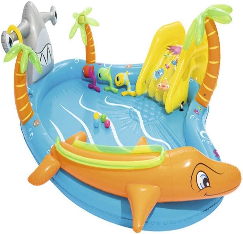 Bnml Piscina Inflable, Casa de Despedida con temática de cocodrilo con una tobogán acuático, Piscina for niños Piscina for niños Juguete for niños Bebés Niños pequeños