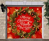 Billboard 3D Effect Wreath Christmas for Single Car Garage Holiday Banner Door Murals Covers Outdoor Full Color Decor Print Decorations of House Garage Door Cover Size 83 x 96 inches DAV205