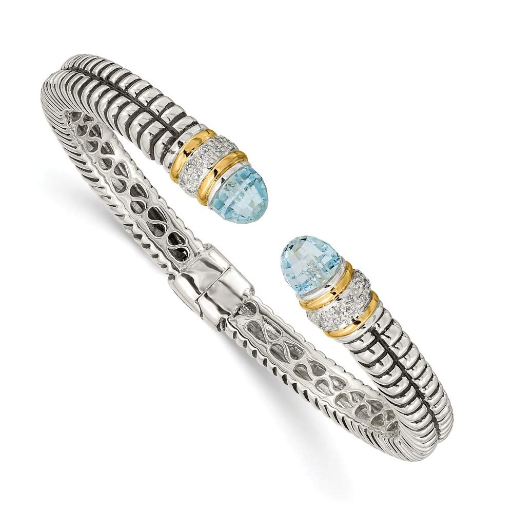 IceCarats 925 Sterling Silver 14k Sky Blue Topaz Diamond Cuff Bracelet Gemstone Bangle Hinged by ICE CARATS (Image #1)