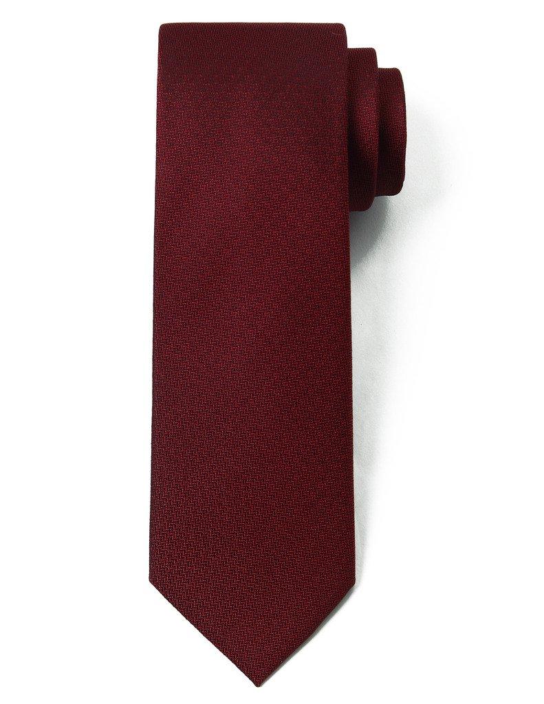 Origin Ties 100% Silk Textured Solid Color Men's Skinny Tie 3'' Necktie Burgundy