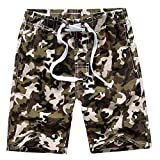 Boy's Quick Dry Camo Board Shorts Swim Trunks, Green, Size 9-10 Years/Tag M