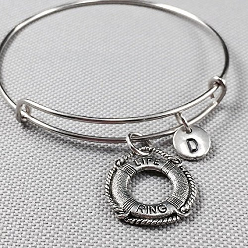 Life ring bangle bracelet, life saver bangle, ocean bangle, personalized bracelet, initial bracelet, monogram, friend bracelet, nautical (Personalized Lifesavers)