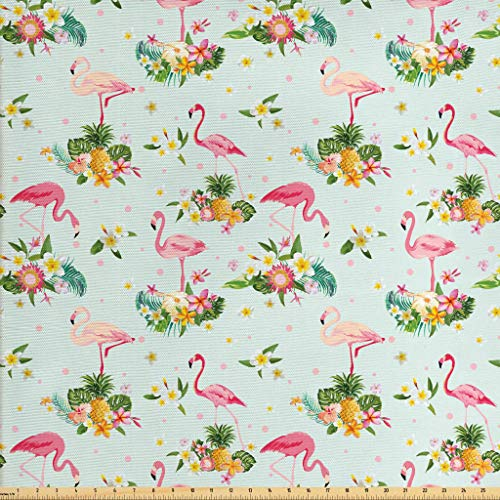 - Lunarable Flamingo Fabric by The Yard, Flamingo Bird Tropical Flowers Fruits Pineapples Vintage Style Artwork, Decorative Fabric for Upholstery and Home Accents, 3 Yards, Yellow Green Pale Pink