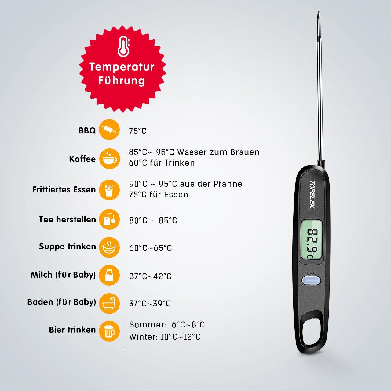 Topelek Fleischthermometer Grillthermometer Faltbares Und Magnet Design 4.8 Zol