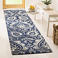 Safavieh Dip Dye Collection DDY511N Handmade Navy and Grey Wool Runner (23 x 8)