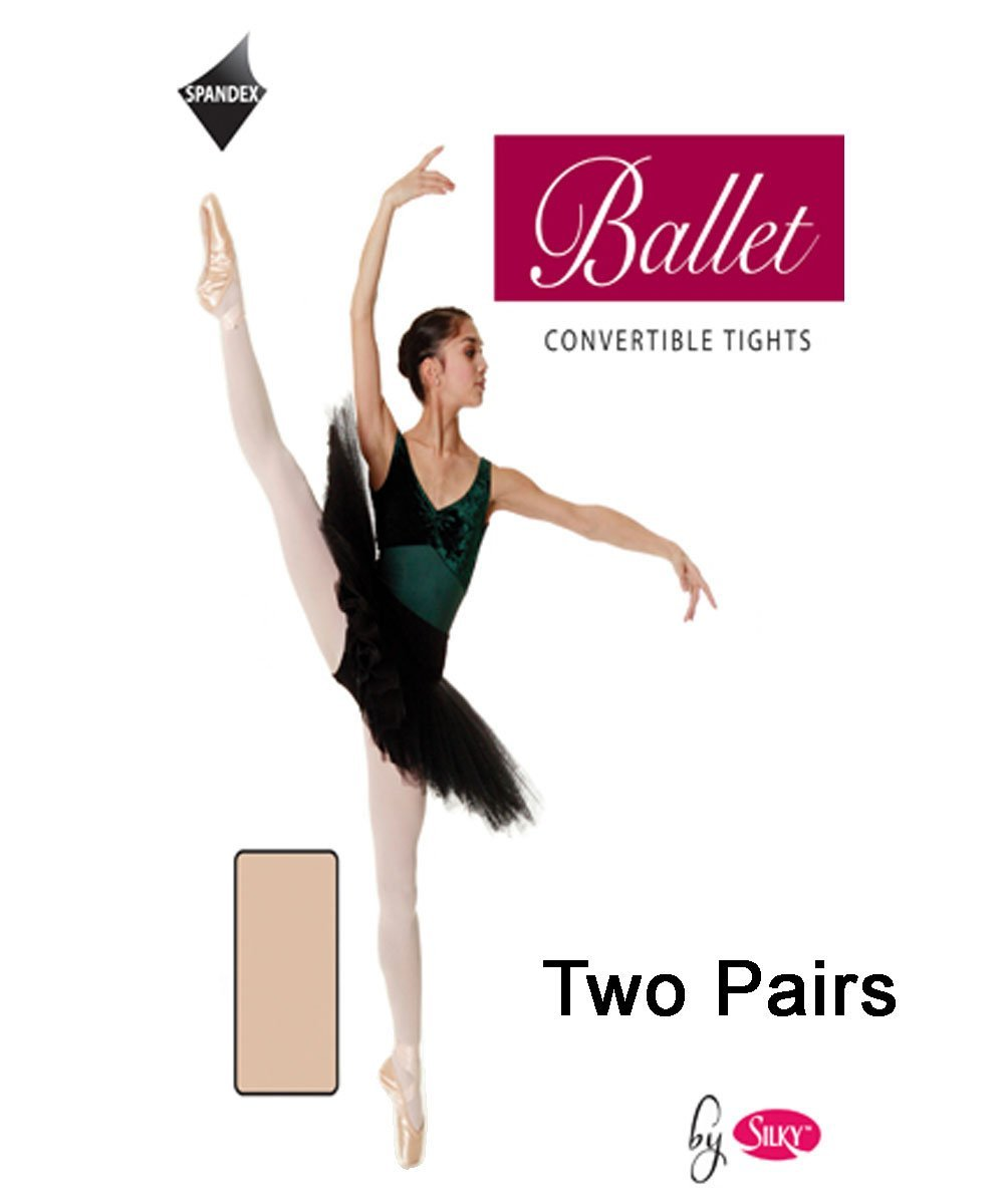 2 Pairs Silky Childs Convertible Dance Ballet Tights 2 Pairs
