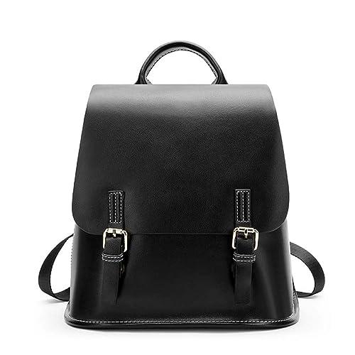 VHVCX Las mujeres de cuero moda mochila mochilas pequeñas para niñas de cuero real Volver Bolsa Mochila Femenina Negro Marrón Verde Oscuro, ...