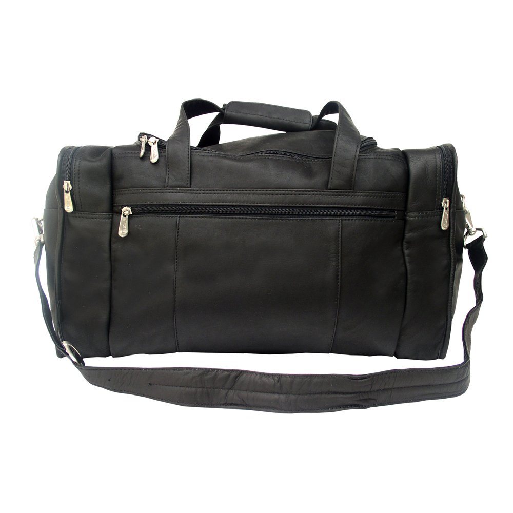 Piel Leather Travel Duffel with Side Pockets, Black, One Size