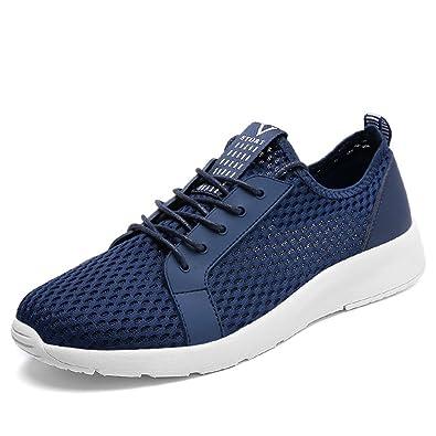 Herren Sneakers Modische Mesh-Oberfläche Atmungsaktiv Freizeitschuhe Schnürsenkel Leichtgewicht Übergröße Laufschuhe Schwarz 42 EU npM38nx