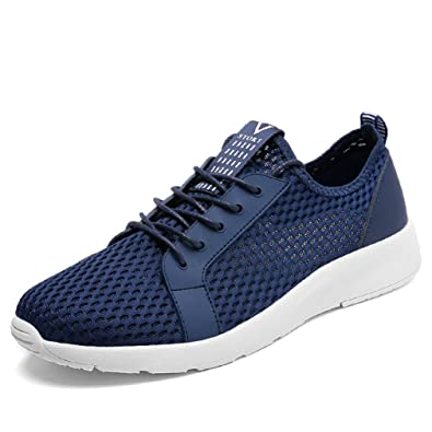 Herren Sneakers Modische Mesh-Oberfläche Atmungsaktiv Freizeitschuhe Schnürsenkel Leichtgewicht Übergröße Laufschuhe Grau 48 EU o2bMs4Rd