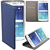 Moozy® Slim Smart Magnetic Flip Case cover with folding stand for Samsung J500 Galaxy J5 with Silicone phone holder, Dark blue Frc