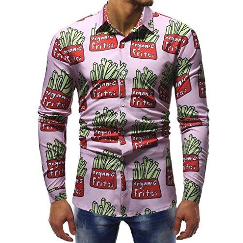 Sunhusing Fashion Mens Print Slim T-Shirt Tops Casual Long Sleeve Shirt Office Work ()