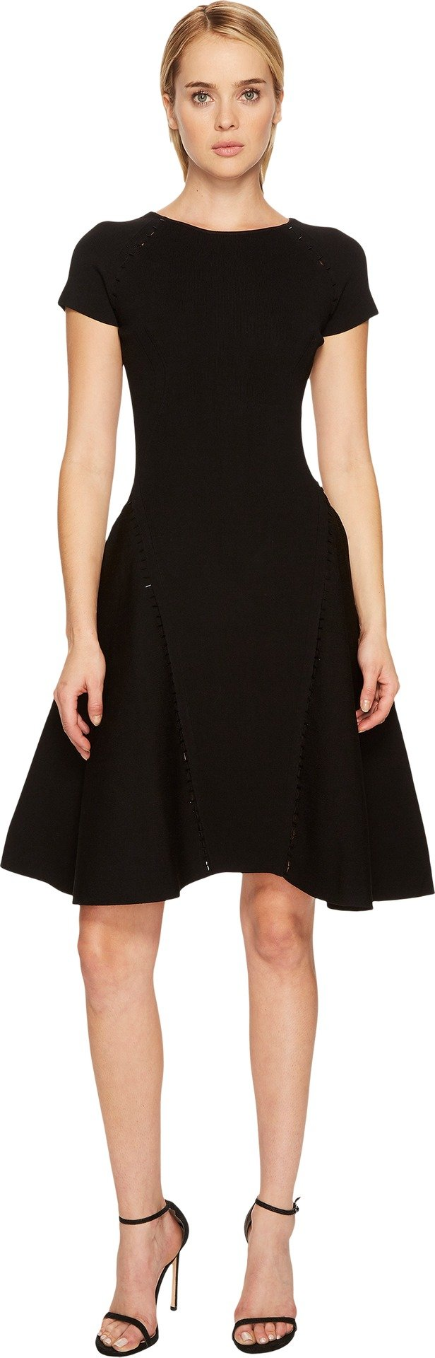 Zac Posen Women's Fine Rib Knit Cap Sleeve Fit and Flare Dress Black Medium