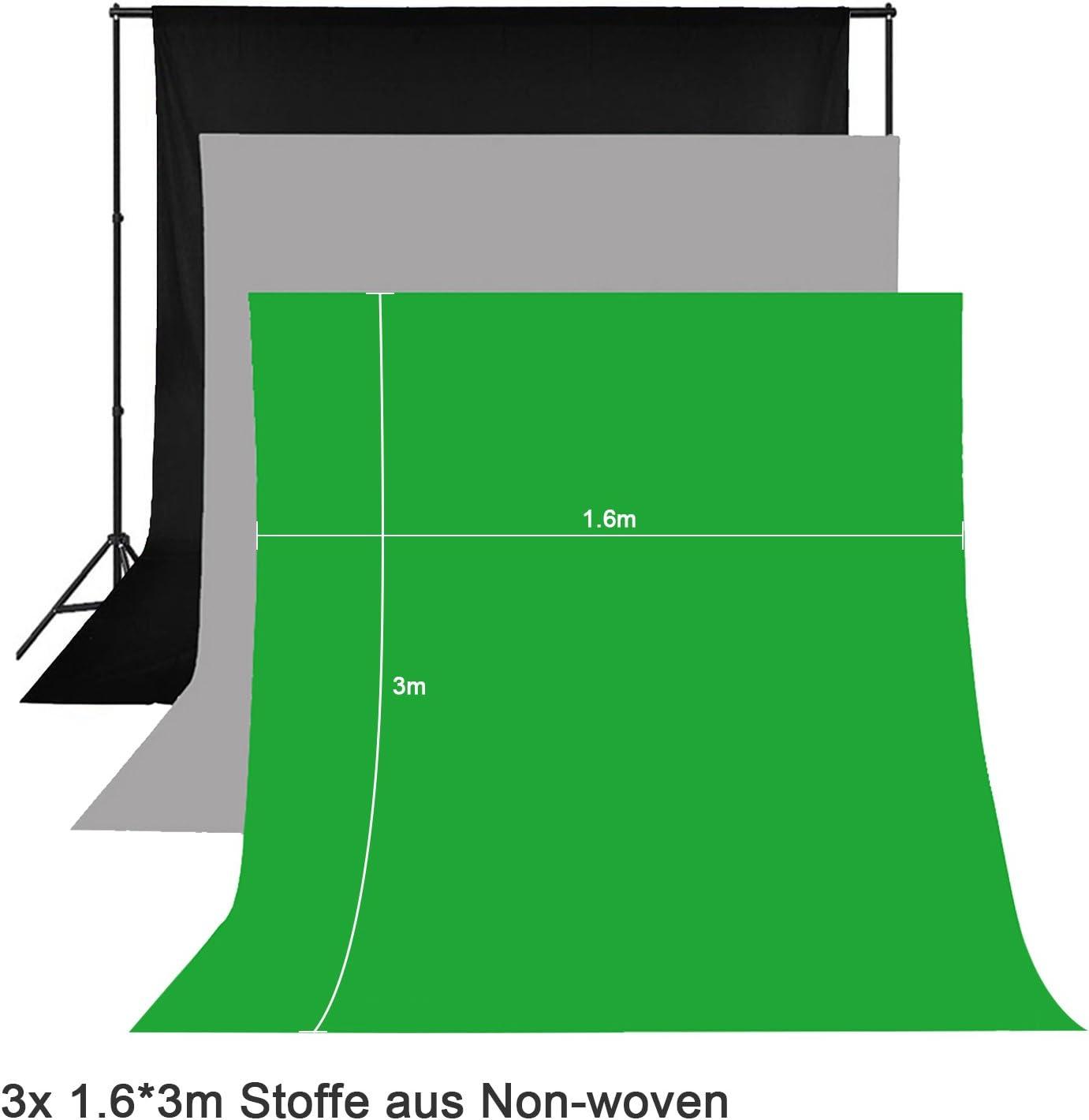 OUBO Softbox Illuminazione Continua Luce morbida kit 2x Lampadina 100/% 1.8x 2.7m bianco Tessuto di cotone sfondo 2x Supporto fondamentale per Studio Fotografico 2x luce stand