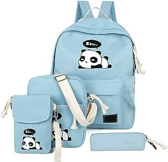 4Pcs Cute Panda Backpack Lightweight Casual Canvas School Backpacks for Teen Girls