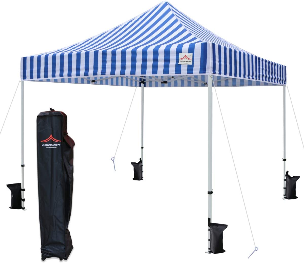 UNIQUECANOPY 10 x10 Ez Pop Up Canopy Tent Commercial Instant Shelter with Heavy Duty Roller Bag, 4 Canopy Sand Bags, 10×10 FT Blue White Strip