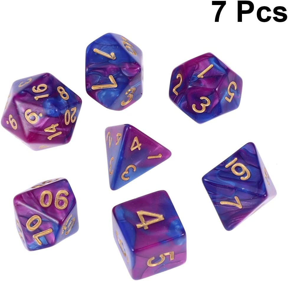 Acrylic Multi Sided Dice Games D/&D RPG Game Board Game Party Accs Purple