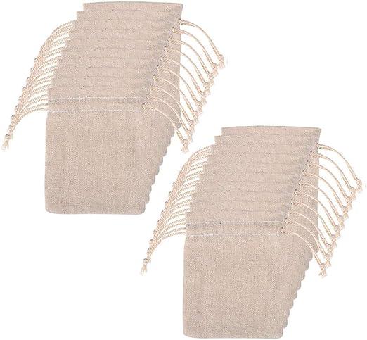 Lystaii 20pcs Bolsas de algodón con doble cordón Bolsa de muselina ...