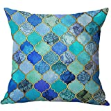 Pidada Thick Throw Pillow Case Geometric Pattern Cotton Blend Linen Square Decorative Cushion Case Cushion Cover Pillowcase for Sofa Bed Chair Bench 18 X 18 Inch (Blue 1)