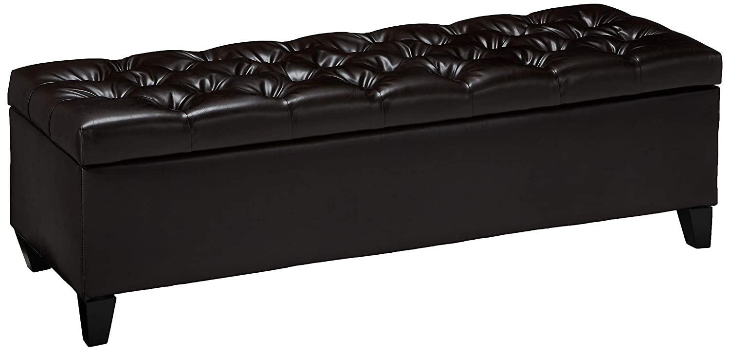 """Christopher Knight Home 299382 Charleston Brown Leather Tufted Storage Ottoman, 17.50""""D x 51.25""""W x 17.43""""H"""
