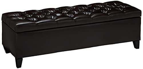 Christopher Knight Home Charleston Brown Leather Tufted Storage Ottoman, 17.50 D x 51.25 W x 17.43 H