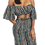 Lanzom Women's Sexy Striped Off Shoulder 2 Pieces Jumpsuit Tops and Pants Set (Large, Striped)