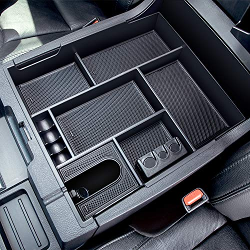 JDMCAR Center Console Organizer Compatible with 2014-2019 2020 Toyota Tundra Accessories, Insert ABS Black Materials Tray, Armrest Secondary Storage Box - Full Tray