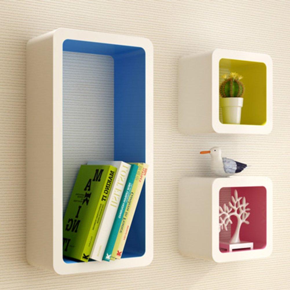 Wall mount shelf,Decorative wall book shelf set hanging flower rack creative grid for living room or bedroom-A