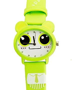 Reloj impermeable de Kawaii exquisita rana de dibujos animados de diseño de pulsera de cuarzo para