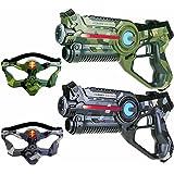 2 Light Battle Active Infrarot-Pistolen und 2 Laser tag Masken, camo grau und camo grün - LBAP22223