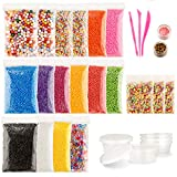 22 Pack Slime Making Kit Included Foam Balls, Fishbowl Beads, Slime Storage Containers, Star Confetti with Fruit Slice for DIY Art Craft, Wedding and Party Decoration, Bonus 1 Set Slime Tools